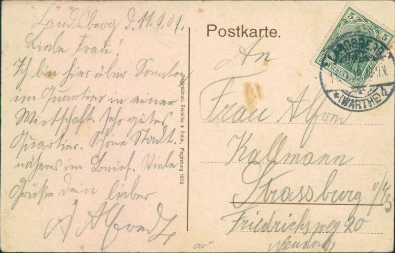 Postcard Landsberg (Warthe) Gorzów Wielkopolski Bismarck-Straße 1909  1