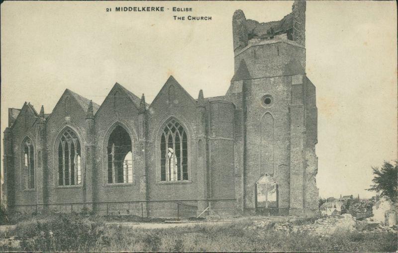 Postkaart Middelkerke Ruine der Kirche L'Eglise 1917