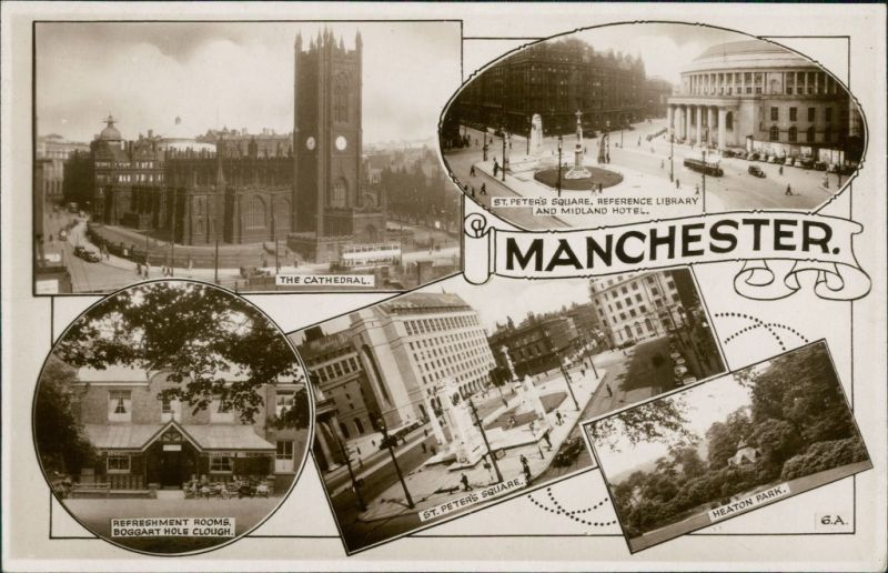 Postcard Manchester Multiview 1941