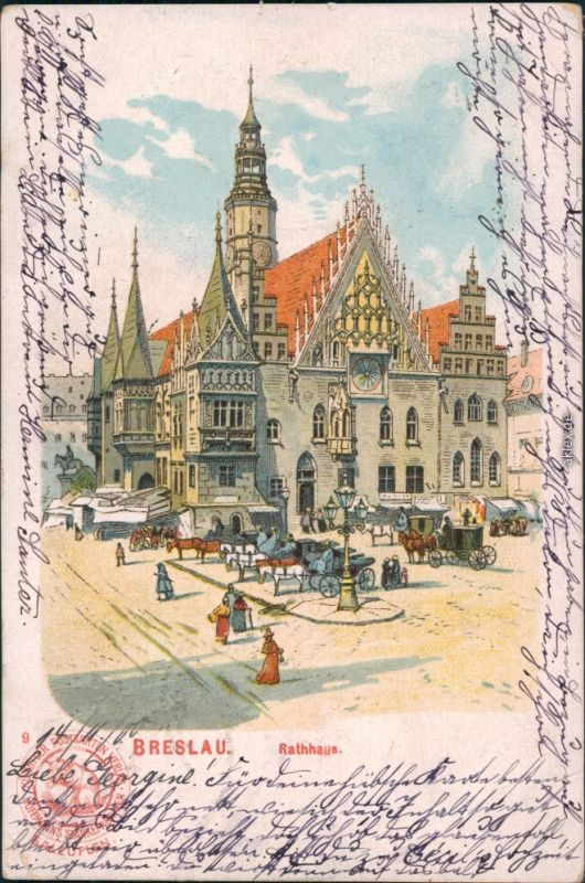 Postcard Breslau Wrocław Künstlerkarte - Rathaus - Pferdekutschen 1902