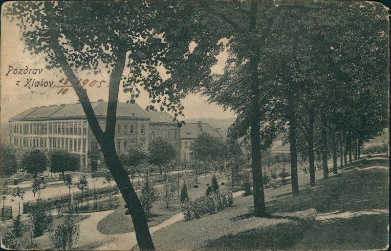 Postcard Klattau Klatovy Straßenpartie 1920