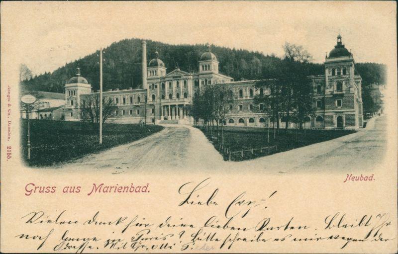 Postcard Marienbad Mariánské Lázně Partie am Neubad 1898