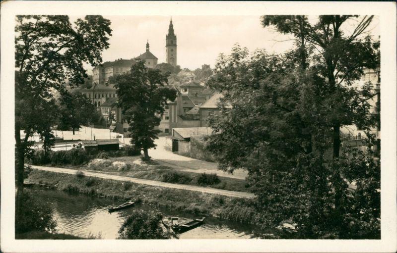 Postcard Leitmeritz Litoměřice Stadtpartie 1955