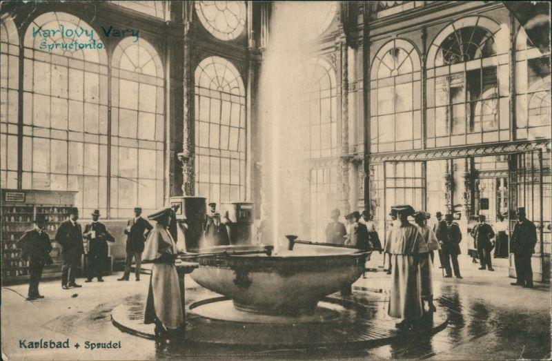 Postcard Karlsbad Karlovy Vary Partie am Sprudel 1924