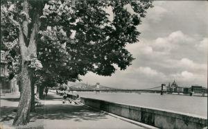 Postcard Budapest Látkép a Lánchiddal/Kettenbrücke 1957