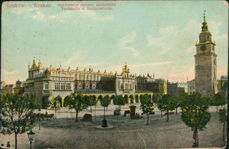 Postcard Krakau Kraków Tuchhallen/Sukiennice und Rathausturm 1908