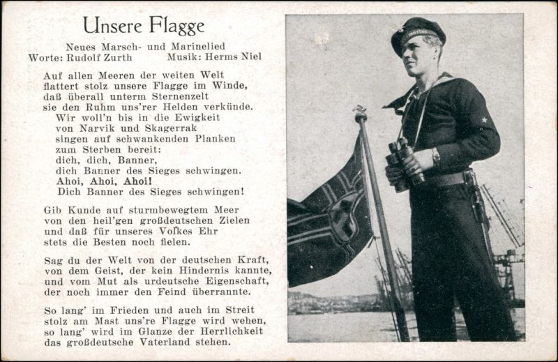 Ansichtskarte  Unsere Flagge - Marine Lied 1939