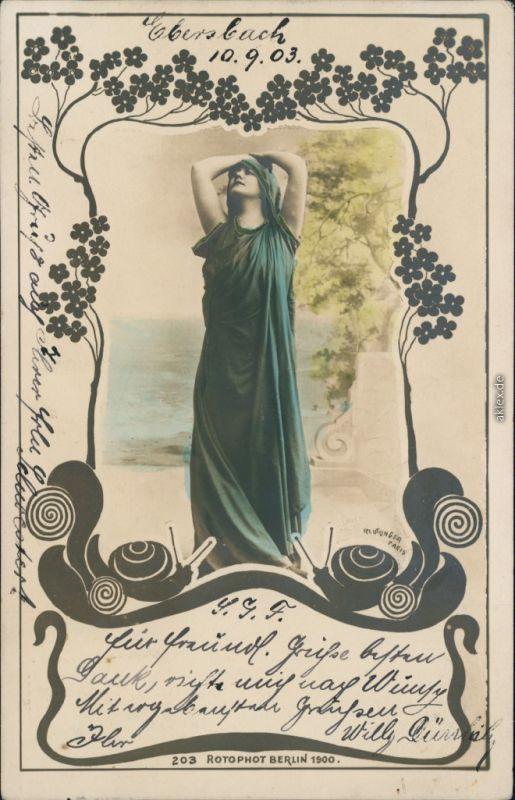 Ansichtskarte  Jugendstil Künstlerkarte Frau, Sinnlichkeit 1903