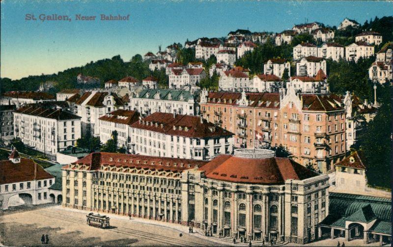 St. Gallen San Gallo / Sogn Gagl / St-Gall Neuer Bahnhof - Stadt 1915