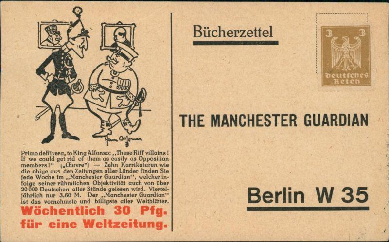 Ansichtskarte  Werbe AK - Bücherzettel The Manchester Guardian 1924