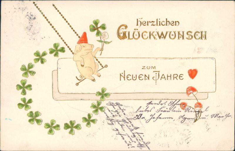 Künstlerkarte Neujahr - Schwein - Fliegenpilz Kleeblatt 1903 Goldrand