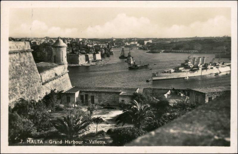 Postcard Valletta Grand Harbour 1939