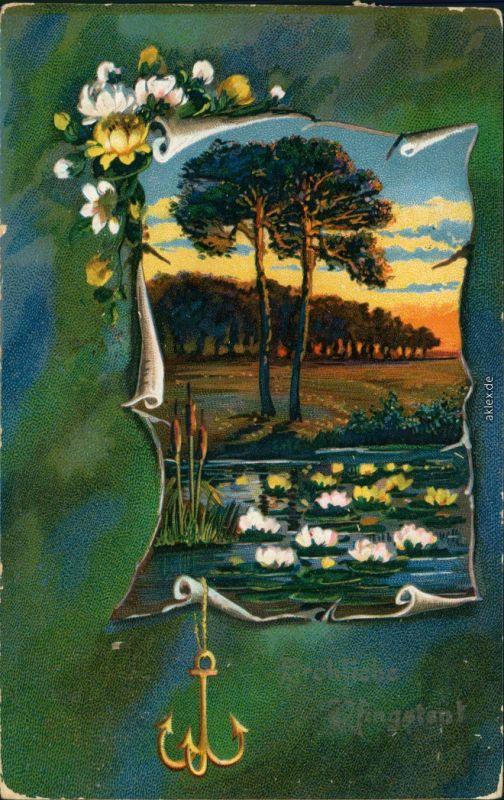 Ansichtskarte  Künstlerkarten Fröhliche Pfingsten, See, Ankeranhänger 1909