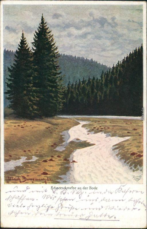 Ansichtskarte  Schneeschmelze an der Bode, signierte Künstlerkarte 1911