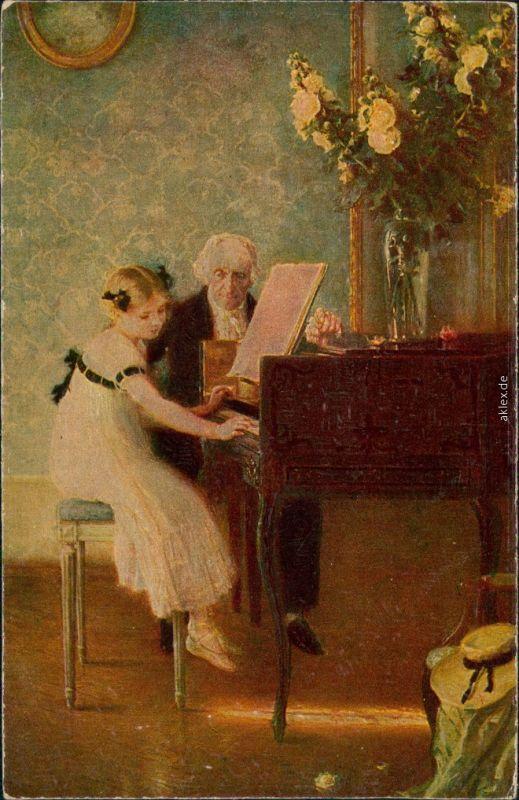 Ansichtskarte  Die erste Klavierstunde: Mädchen übt mit Lehrer 1916