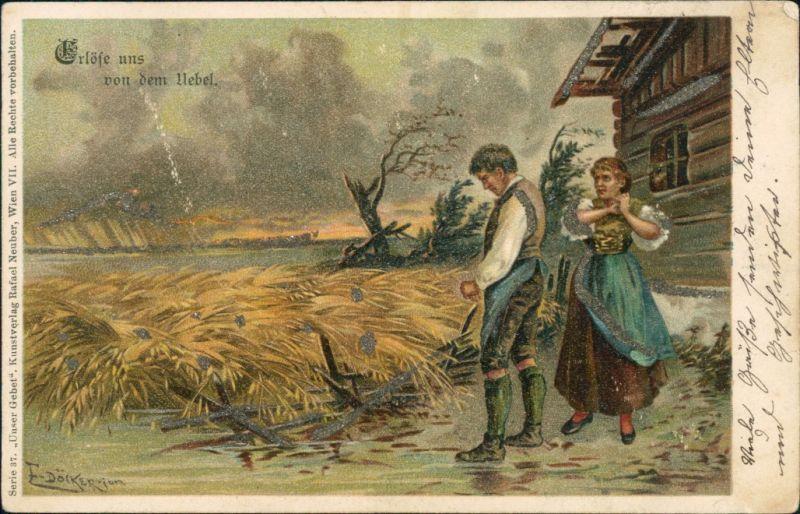 Signierte Künstlerkarten: Unwetter- Erlöse uns  Übel, zerstörtes Feld 1901