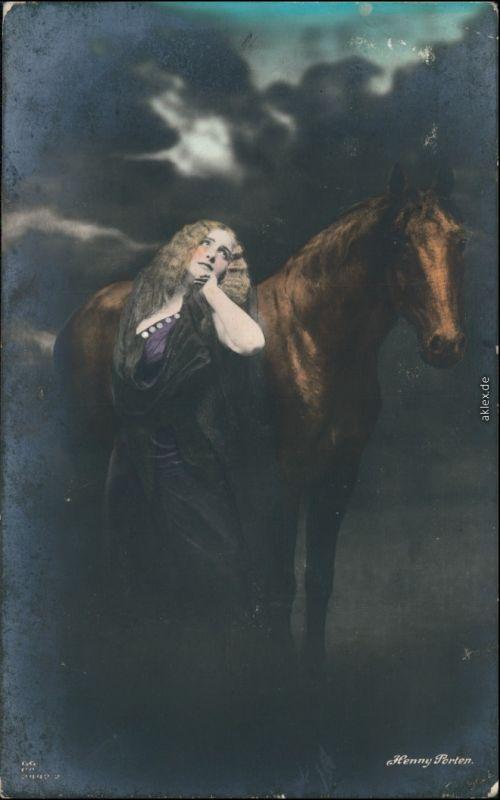 Ansichtskarte  Erorika - Frau Pferd coloriert, Henny Porten 1917
