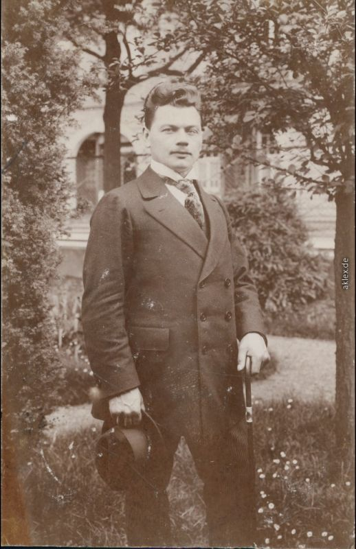 Stuttgart Mann Im Freien Mit Hut Und Stock Frisur 1914 Privatfoto Nr