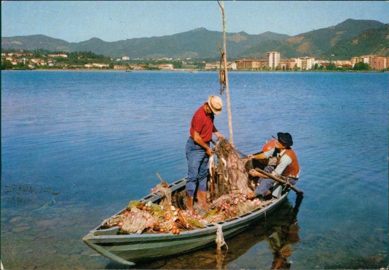 Ansichtskarte _Lombardei- Lago d'Iseo Fischer auf dem Iseosee 1990
