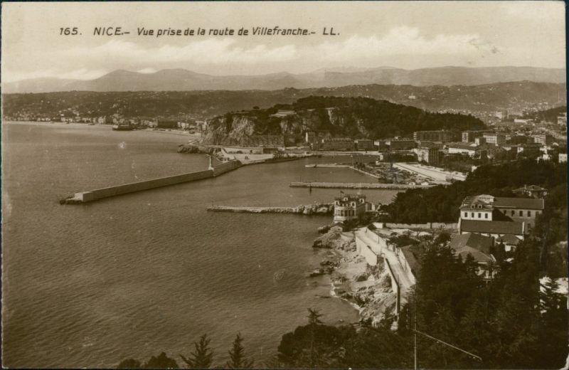 CPA Nizza Nice Vue prise de la route de Villefranche 1928