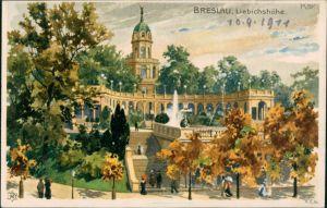 Postcard Breslau Wrocław Künstlerkarte - Liebichshöhe 1911