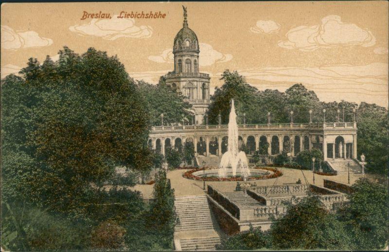 Postcard Breslau Wrocław Liebichshöhe - coloriert 1914