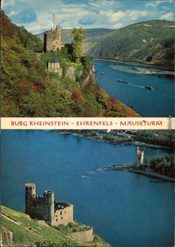 Ansichtskarte Rüdesheim (Rhein) Burg Ehrenfels Rheinstein und Mäuseturm 1974