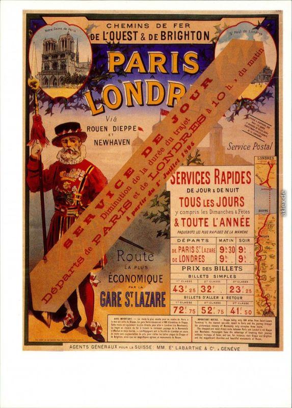 Ansichtskarte  Eisenbahn Plakat Paris-London 1900/1990 0