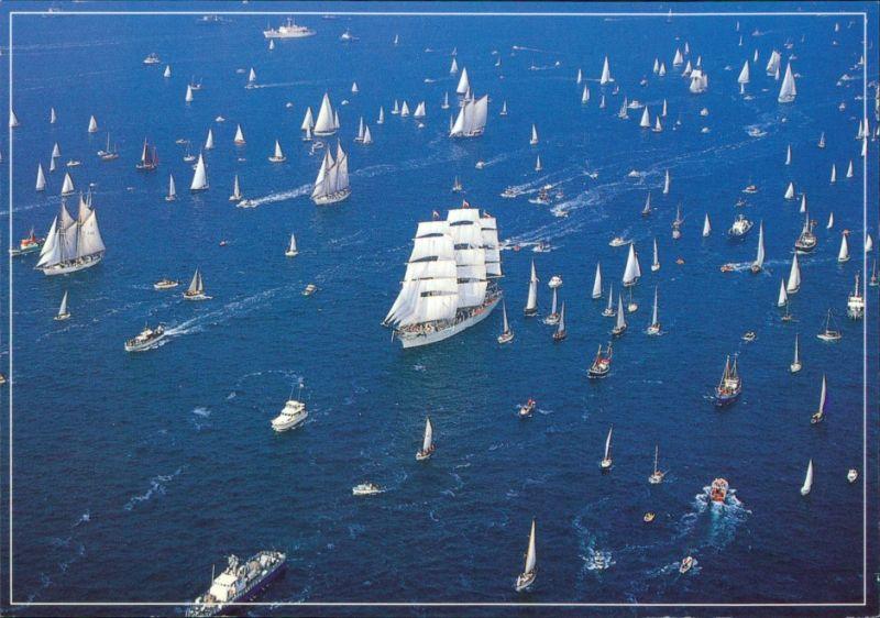 Ansichtskarte  Segelschiffe Parade Luftbild 1995
