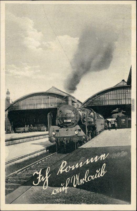 Ansichtskarte  Bahnhof - Dampflokomotive - Ich komme 1938