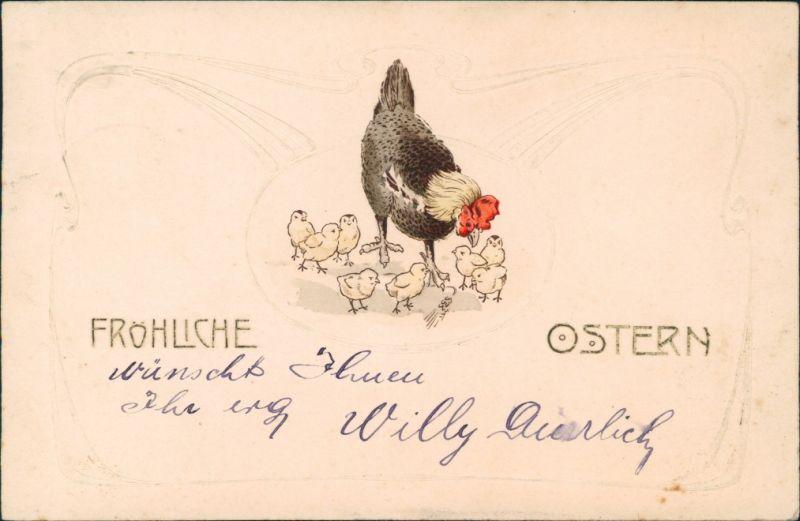 Ansichtskarte  Jugenstil - Ostern Hahn und Küken 1904 Prägekarte
