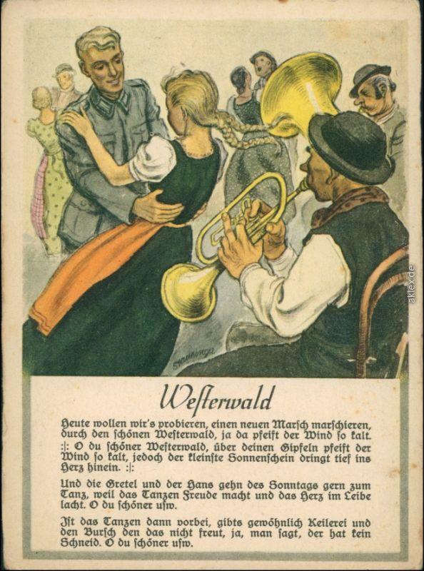 Ansichtskarte  Liedkarte Soldat - Frau, Westerwald WK2 1940
