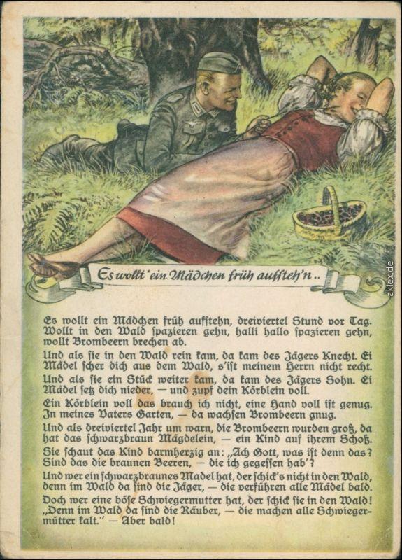 Künstlerkarte WK2 Soldat - Es wollt ein Mädchen früh aufstehen 1940