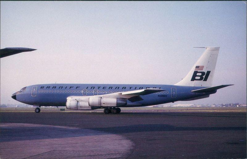 Ansichtskarte  Flugzeug BRANIFF INTERNATIONAL Boeing 707-138B 1980