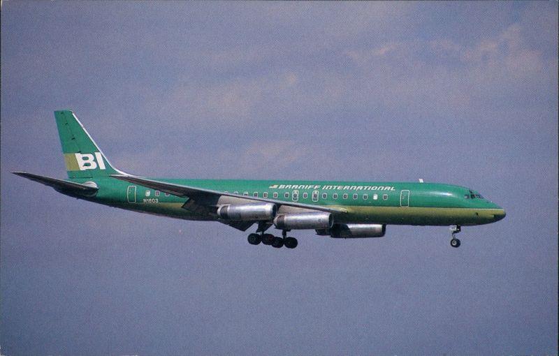 Ansichtskarte  Flugzeug Braniff International Mc Donnell Douglas DC-8-62 1974