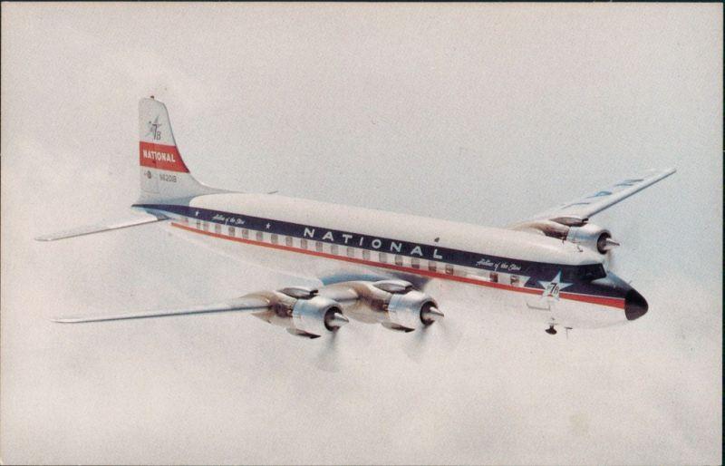 Ansichtskarte  Flugzeug National Airlines Douglas DC-7B 1987