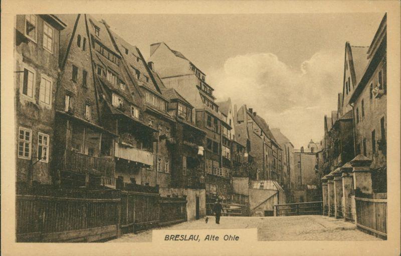 Postcard Breslau Wrocław Straßenpartie Alte Ohle 1922