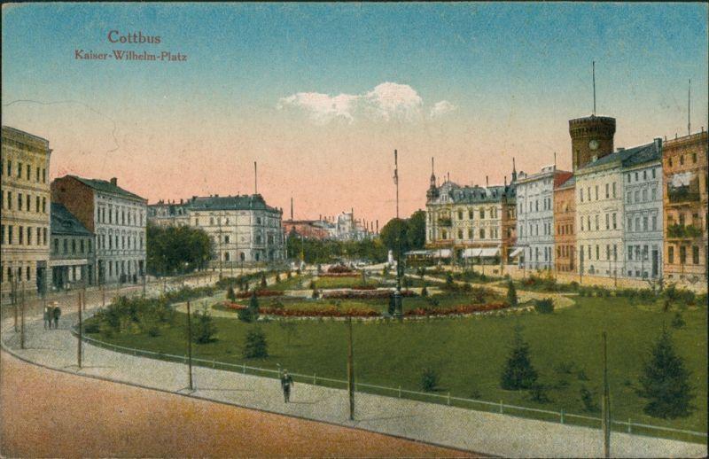 Ansichtskarte Cottbus Kaiser-Wilhelm-Platz 1914