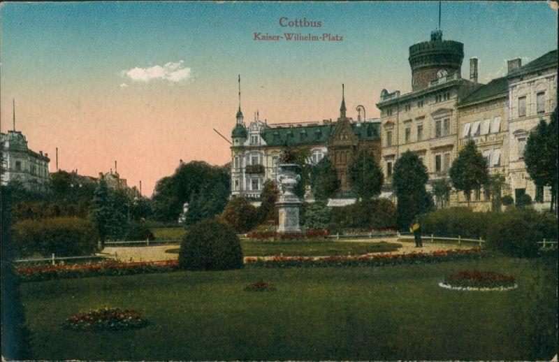 Ansichtskarte Cottbus Kaiser-Wilhelm-Platz, Park 1914