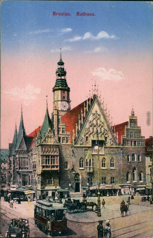 Postcard Breslau Wrocław Rathaus, Markttreiben - Straßenbahn 1914