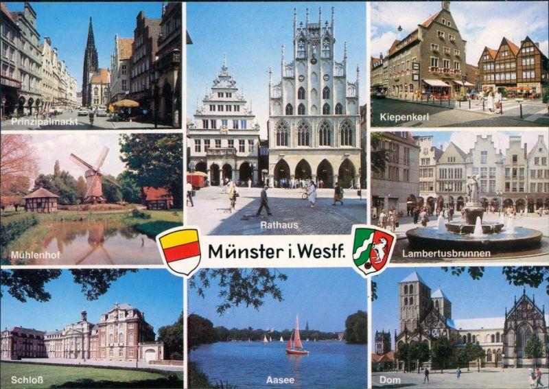 Ansichtskarte Münster (Westfalen) Kiepenkerl, Mühlenhof, Aasee 1994