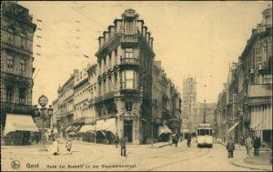 Postkaart Gent Ghent (Gand) Hoek der Brabant Vlanderernstraat 1913