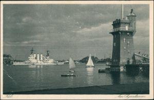 Ansichtskarte Kiel Kriegsschiff am Signalturm 1930