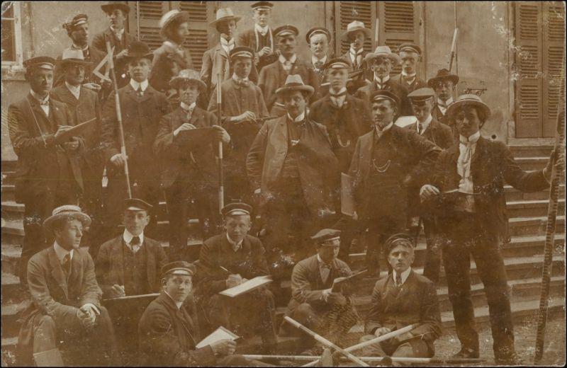 Ansichtskarte  Studentika - Schüler und Lehrer - Privatfoto AK 1912