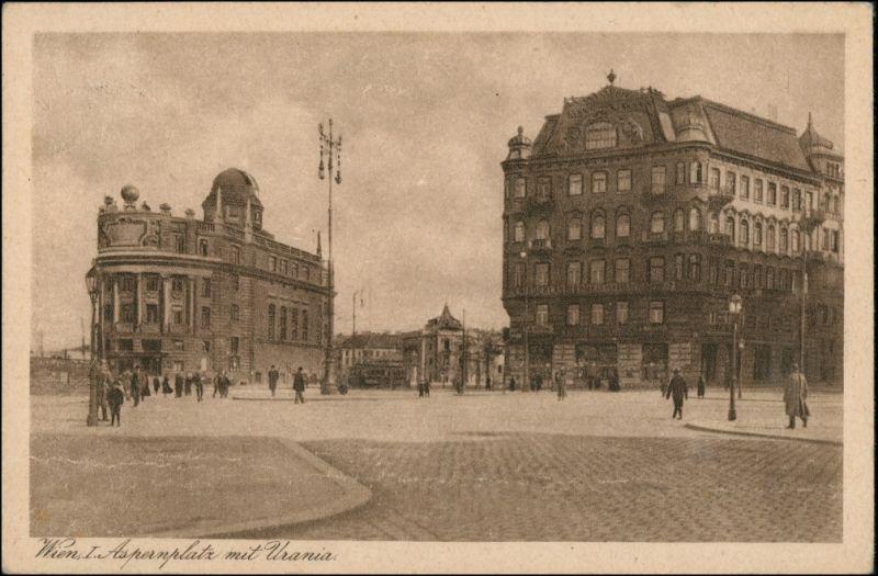 Ansichtskarte Wien Aspernplatz mit Urania 1936