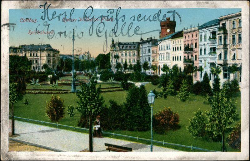 Ansichtskarte Cottbus Partie am Kaiser Wilhelm Platz - Reichsbank 1924