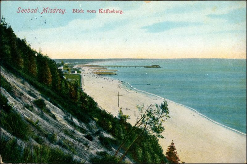 Misdroy Międzyzdroje Blick vom Kaffeeberg auf den Strand 1911