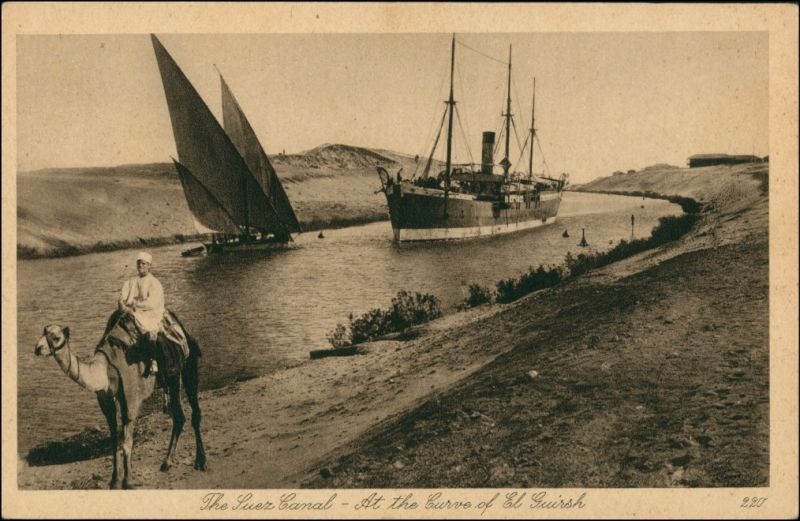 Suez السويس‎ as-Suways Dampfer, Beduine Suez Kanal  El Guirsh 1922