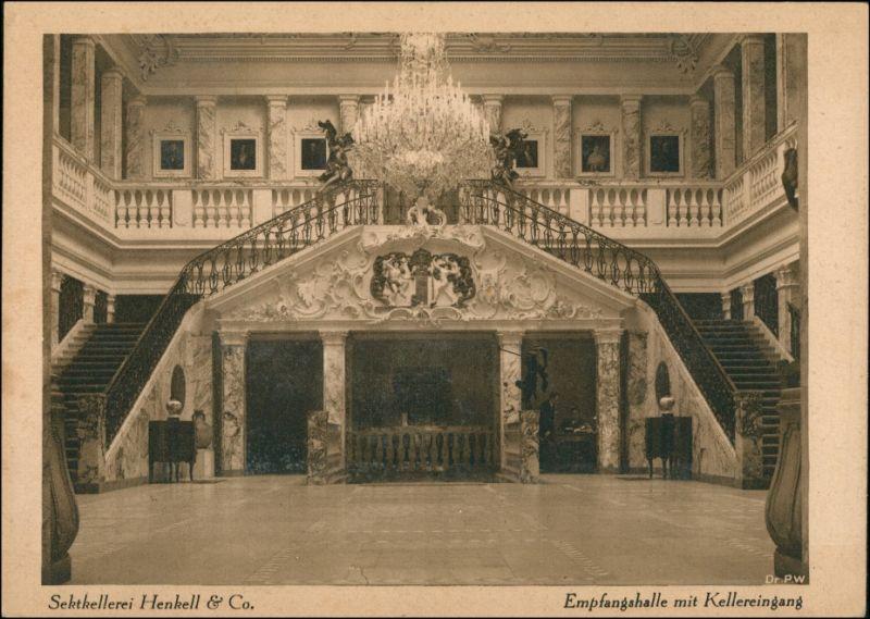 Ansichtskarte Biebrich-Wiesbaden Sektkellerei Henkell - Eingangshalle 1928