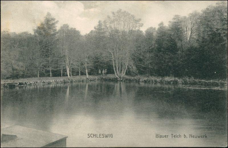 Ansichtskarte Schleswig (Sleswig/Slesvig) Blauer Teich bei Neuwerk 1907